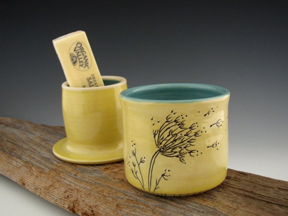 French Butter Keeper in Yellow and Turquoise with Dandelion Detail - Butter Dish - by DirtKicker Pottery