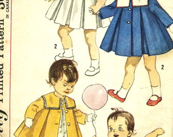 Vintage 60s Simplicity 3843 Toddlers Pleated Dress and Coat with Detachable Collar Sewing Pattern Size 1