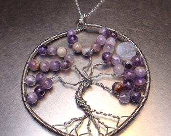 Tree of Love - Amethyst & Blue Lace Agate - Wire Wrapped Gemstone Necklace