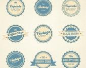 Vintage digital label badge stickers - digital clipart