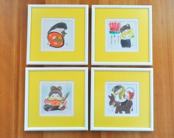set of four framed japanese watercolor paintings