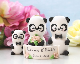 Unique wedding cake toppers Panda family - 1 baby/child - bride groom figurines cute personalized elegant gift anniversary black white pink