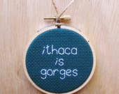ithaca is gorges. cross stitch ornament.