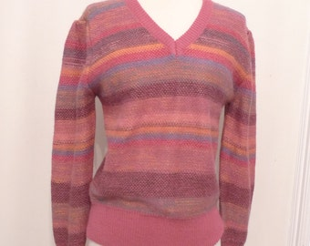 SALE Vintage 80s Ombre Sweater NWT / Vneck / Pink NonWool Knit Pullover // Gradient Pastel Stripey Sherbet Jumper Top