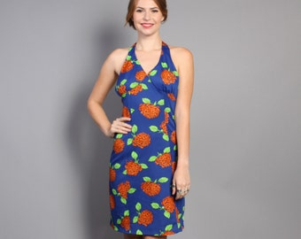 70s FLORAL Sun DRESS / Backless Halter Mini Dress, xs-s