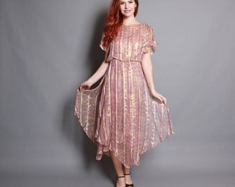 70s Sheer SILK DRESS / Metallic GOLD & Pink Swirl Print Draped Midi