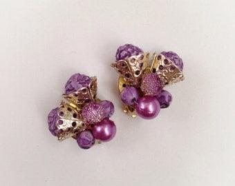 Vintage Purple Plastic Bead Earrings Clip On Hong Kong