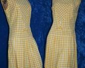 Vintage 60s 1960s Plaid Yellow Retro Skooter Romper Sleeveless Box Pleats Dropwaist Mod Mini Dress