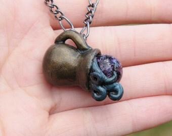 Aquarius Water Jug Necklace Zodiac Pendant Amethyst Birthstone