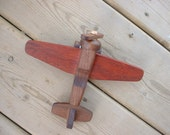 Wood Airplane, a Classic Toy in Walnut and Bloodwood - Natural Wood Toy