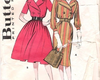 Butterick 9169-1960s Double Breasted Dress Vintage Sewing Pattern Bust 34 Shirtdress Slim Skirt Full Skirt Size 14