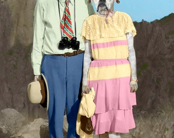 On Holiday, large original photograph of white boxer dogs wearing vintage clothes on vacation