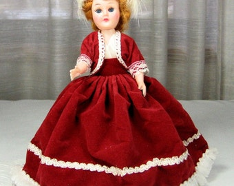 Vintage Sleepy Eye Doll with Red Velvet Costume