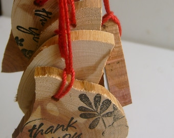 20 Rustic Wooden Hand Stamped Thank You Hang Tags Cedar Wood With Red String Closet Hanger