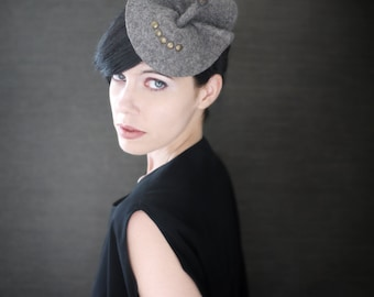 Modern Industrial Felt Fascinator with Porupine Quill Accents - Arthropod Series - Made to Order