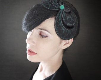 Black Felt Headband Fascinator - Helix Series - Made to Order