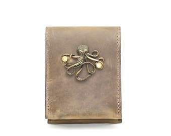 Kraken Steampunk Leather Case - Smartphone Case and Card Wallet with Steampunk Nautical Octopus