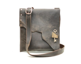 distressed brown leather satchel - raw edge leather bag with steampunk pirate skeleton key
