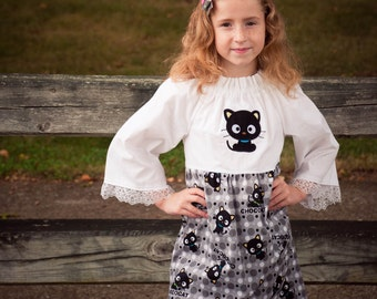 Kawaii Black Cat Betsy's Dress / Lace Sleeve Detail Size 6/7