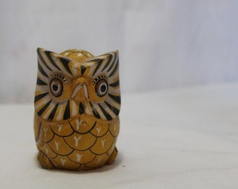 Vintage Yellow Tribal Hand Painted Wooden Owl
