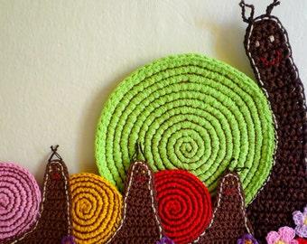 Kitchen Decor Snail Trivet - Snail Centerpiece - Snail Place Mat - Snail Hot Pad - Crochet Snail Trivet - Gift for Her - Home Decor