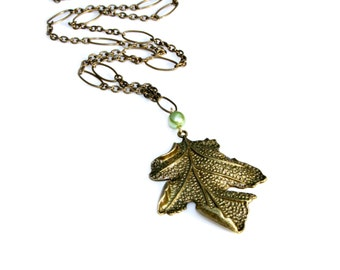 Leaf Necklace Woodland Jewelry Long Chain Necklace Bronze Rustic Pendant Oak Tree Leaf Charm Nature Botanical Rustic Country Flare Mei Faith