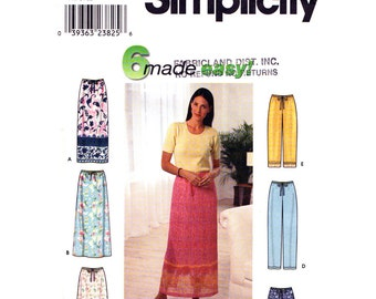 Drawstring Skirt Pants Shorts Pattern Simplicity 9139 Capris Womens Size 6 to 24 Easy Sewing Patten UNCUT