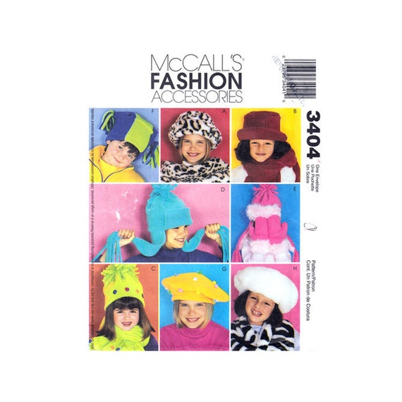 Kids Hat Scarf Mittens Pattern McCall's 3404 Jester Hat Beret Boys & Girls Accessories