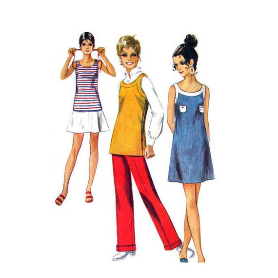 Womens Mini Dress Tunic Skirt Pants Pattern Simplicity 8838 Flip Mini Skirt Trousers | Womens Sewing Pattern Size 10 Vintage 1970s Pattern