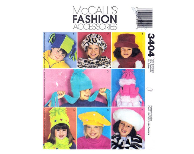 McCall's 3404 Kids Hat Scarf Mittens Pattern Jester Hat Beret Boys & Girls Accessories