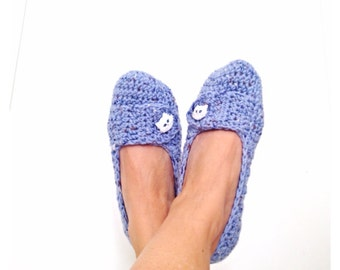 White Blue  Cat Tweed Crochet  Womens Slippers, Ballet Flats, House Shoes