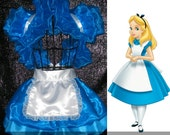Alice in wonderland costume apron peplum burlesque bustle skirt Bolero Cosplay  Moulin rouge French maid