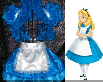 Alice in wonderland Cosplay costume apron peplum burlesque skirt Bolero wrap French maid Supercon