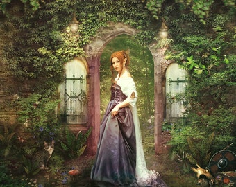 Gate to Fairieland Fairy tale Art Print 'Unlocked Door' Magical Landscape Medieval Elf Maiden in Purple Gown and Veil Red Haired Fairy Woman