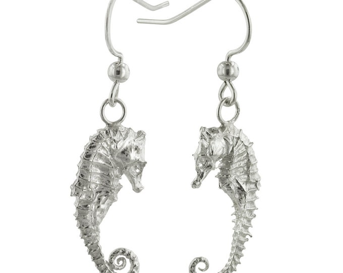 Sterling Silver Seahorse Earrings, Cast from Real Seahorses