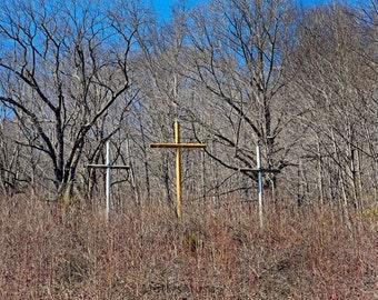 Landscape Photo, Christian Art Print, Three Crosses Resurrection Photograph, Devil Anse Hatfield Cemetery, Hatfield McCoy, Blue Silver
