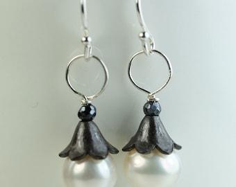 Pearl Earrings sterling silver oxidized bell-flower cap, pearl drop earrings by art4ear, free shipping Canada, jewelry gift under 25 USD
