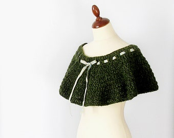 Moss Green Capelet Crochet Shoulderette Green  Shrug Poncho