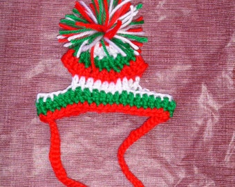 CHRISTMAS STRIPES Pom Pom hat - for pets - Humorous - 2 to 20 lb pet - need measurement