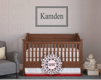 Modern Rectangle Monogram Name Wall Decal for Baby Girl or Boy Baby Nursery or Teen Bedroom - Small to Extra Large Size  CB0010