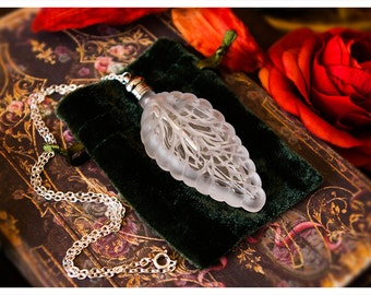 perfume bottle necklace - the sylvan leaf - natural perfume oil trapped in 1/4 oz leaf bottle tethered by silver chain -62 aroma options