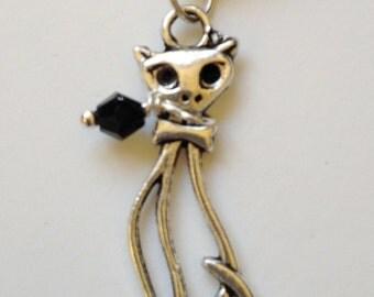 Tibetan Silver Cat European Charm Black Swarovski  Bracelet Necklace Anklet Charm (LGD103)