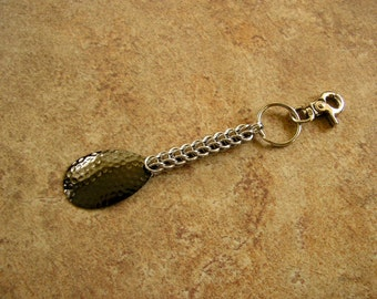 "5.75"" - Chainmail Keychain,  with a gun-metal  tone metal charm on a 1"" key ring with a trigger clip"