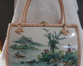 Womens Handbag:Wicker Purse ~ Lake Boat Scenery Handbag ~ Womens Vintage Purse