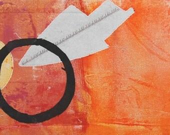 Contemporary Fine Art Abstract Monoprint : GettingThru2U