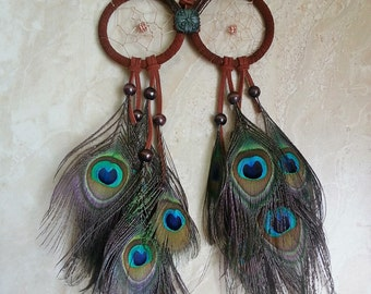 Owl Dream Catcher - Peacock Feather Dream Catcher, Owl Dreamcatcher - Home Decor