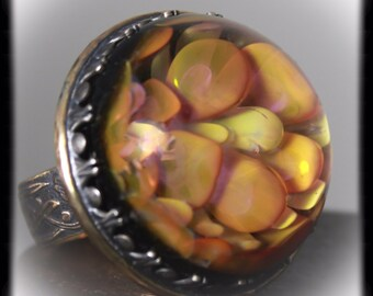 Glass Art Sterling Silver and Gold Statment Ring  Size 11