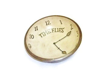 SALE |  Hand Painted Bowl-Time Flies-Clock Face Design