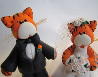 Custom Made Tiger Bride and Groom Wedding Cake Topper