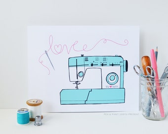 Pink and Turquoise, Sewing Machine, I love sewing, Sew Happy, Illustration, Sewing Love, Fabric, Needle, art print